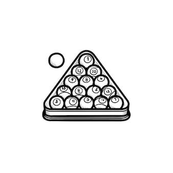 Icona di doodle di contorni disegnati a mano di rack da biliardo. palle nel rack per biliardo illustrazione di schizzo vettoriale per stampa, web, mobile e infografica isolato su priorità bassa bianca.