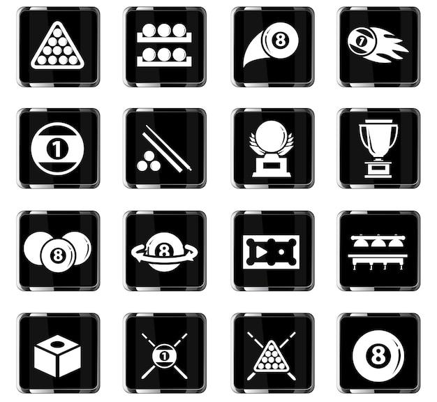 Icone vettoriali di biliardo per il design dell'interfaccia utente
