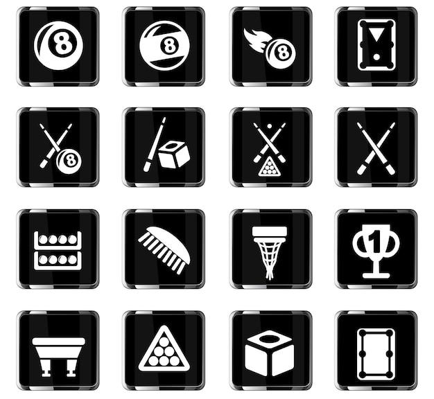 Icone web di biliardo per il design dell'interfaccia utente