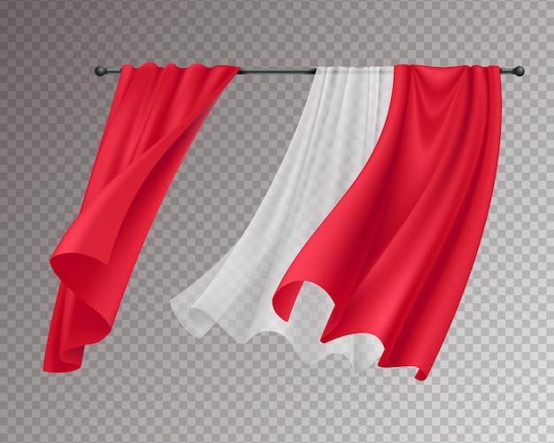 Tende fluttuanti composizione realistica con tende appese in pizzo rosso e bianco solide isolate su trasparente