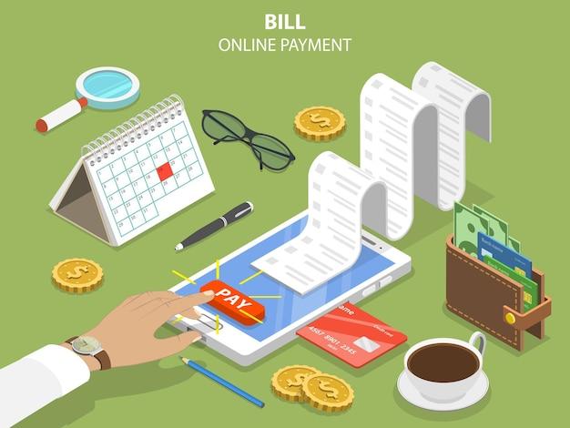 Concetto isometrico piatto di pagamento online di fatture
