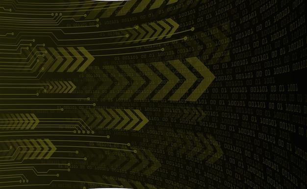 Tecnologia futura del circuito binario, fondo di concetto di sicurezza informatica di freccia gialla, movimento di movimento