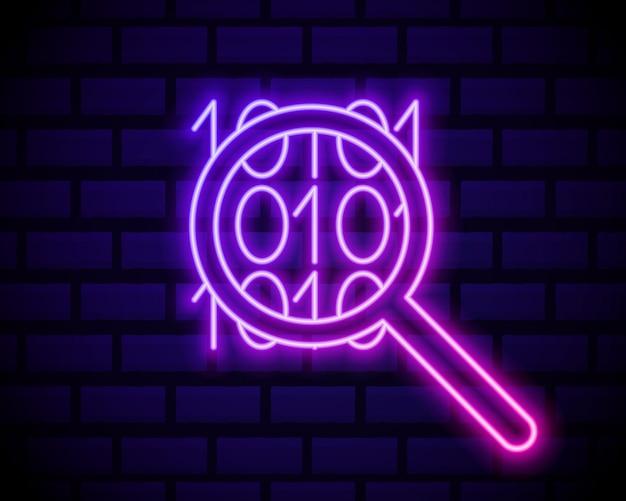 Codice binario. icona al neon incandescente. icona binaria con lente d'ingrandimento.
