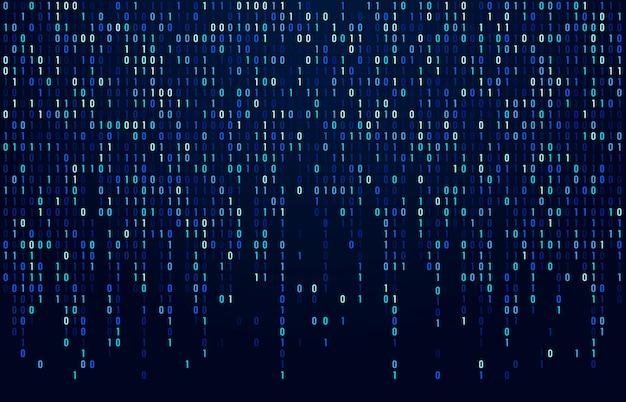 Flusso di codice binario. codici di dati digitali, codifica di hacker e flusso di numeri di matrice crittografica. sfondo astratto schermo digitale blu