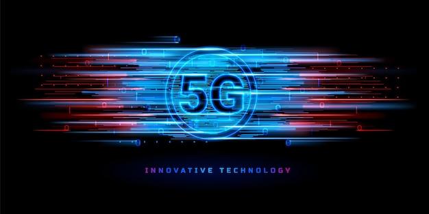 Dati binari che fluiscono attraverso la connessione wireless 5g per il banner tecnologico. connessione alla rete internet a velocità globale.