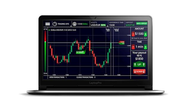 Opzioni binarie, piattaforma di trading, interfaccia di scambio commerciale sullo schermo di un realistico laptop nero su uno sfondo isolato