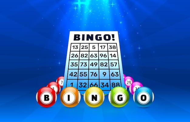 Sfere del gioco del bingo con i numeri sull'azzurro con le luci