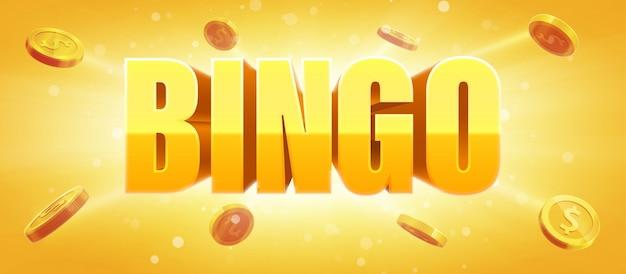 Segno di bingo con oro reale monete 3d sfondo incandescente