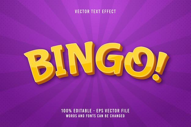 Effetto carattere modificabile del testo bingo