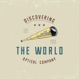 Emblema logo binoculare o etichetta strumenti astronomici, telescopi oculari e binocoli, quadrante, sestante inciso in stile vintage disegnato a mano o taglio legno, vecchi occhiali da disegno.