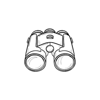 Icona di doodle di contorni disegnati a mano del binocolo. attrezzature ottiche e spia, concetto di ricerca, orologio e zoom