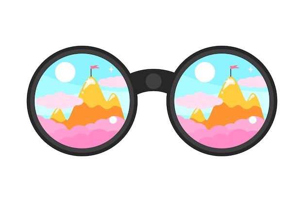 Il binocolo guarda la bandiera sull'illustrazione dei simboli di vettore della montagna isolata