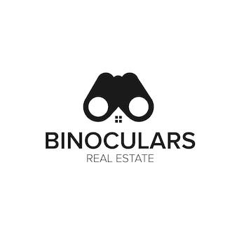 Modello di vettore dell'icona del logo immobiliare del binocolo