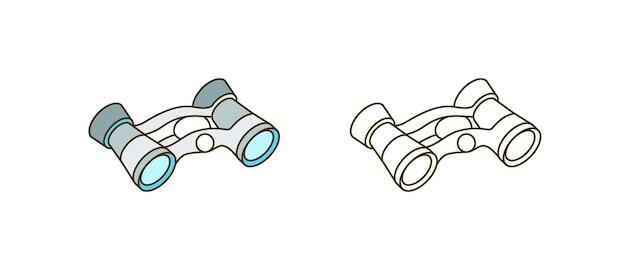 Binocolo illustrazione vettoriale. lente d'ingrandimento, dispositivo di visione a lungo raggio. look-see, ottica, elemento di design del colore dell'apparecchio a vista distante. strumento ottico isolato su sfondo bianco.