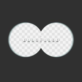 Vista del binocolo con lente trasparente dai bordi morbidi e scala di misurazione. due cerchi con campi di trasparenza.
