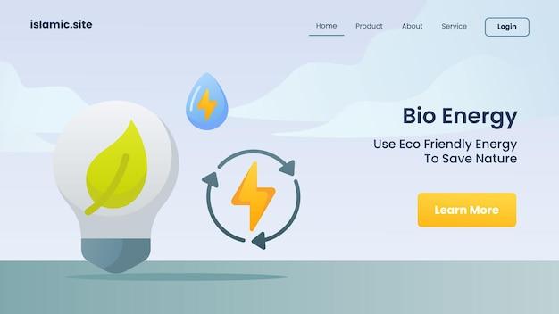 Bioenergia per utilizzare l'energia rispettosa della natura per salvare la natura per l'illustrazione di progettazione di vettore di fondo piatto isolato della homepage di atterraggio del modello di sito web