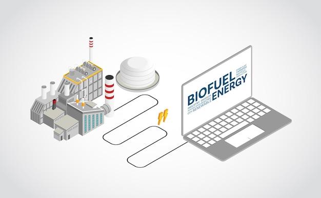 Energia bio-combustibile, centrale elettrica bio-combustibile con grafica isometrica