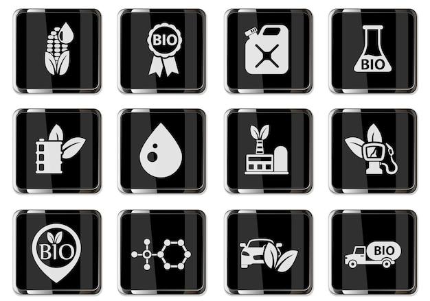 Pittogrammi carburante bio nei pulsanti cromati neri. set di icone per il tuo design. icone vettoriali