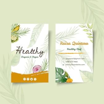 Biglietto da visita fronte-retro di alimenti biologici e sani
