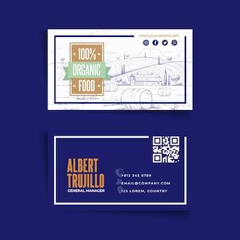 Biglietto da visita orizzontale di cibo biologico e sano