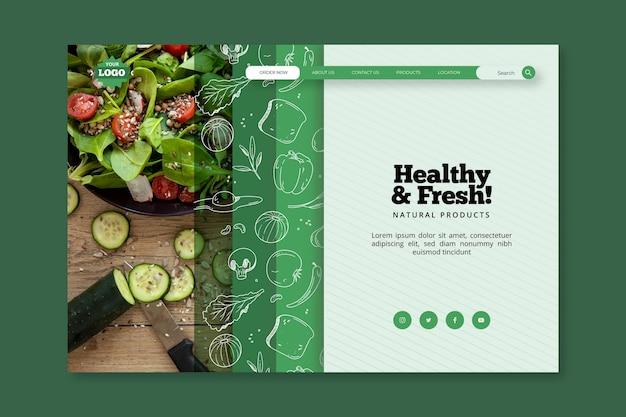 Modello di pagina di destinazione per alimenti biologici e sani