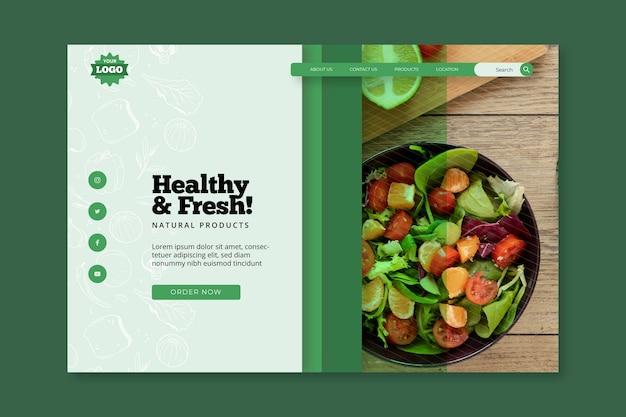 Pagina di destinazione di alimenti biologici e sani