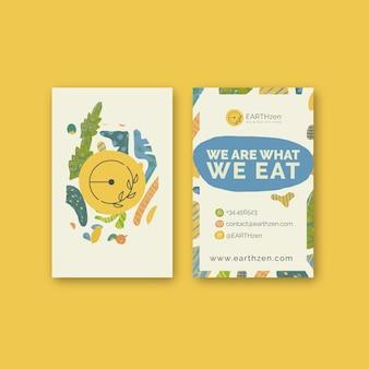 Modello di biglietto da visita verticale di cibo biologico e sano