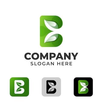 Foglia bio con disegno del logo della lettera b.