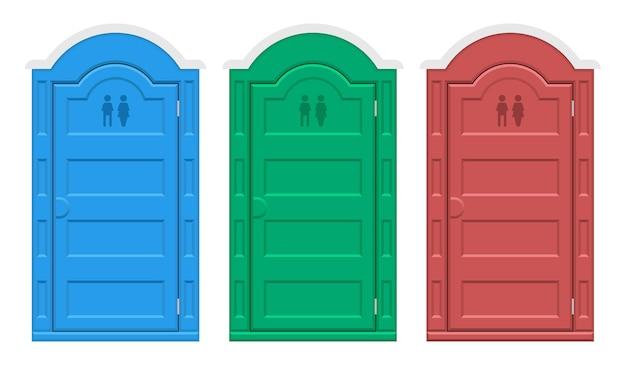 Illustrazione del set di servizi igienici all'aperto bio isolato su bianco