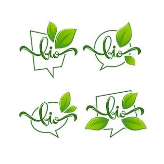 Prodotto bio, emblemi di foglie biologiche, adesivi, cornici e logo con composizione di scritte