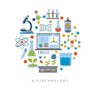 Elementi di tecnologia biologica in un cerchio