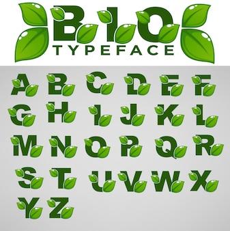 Carattere bio per composizioni di lettere ecologiche e organiche