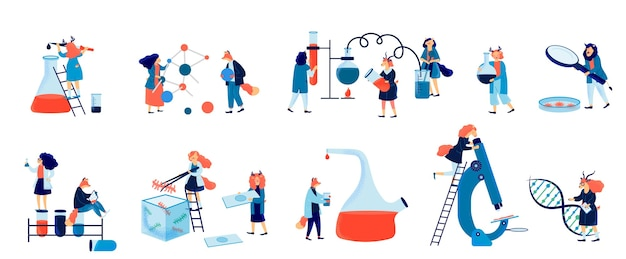 Personale del laboratorio di scienze biochimiche. set colorato con l'esecuzione di vari esperimenti