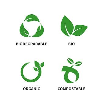 Il concetto biodegradabile e compostabile riduce il riutilizzo ricicla l'illustrazione vettoriale isolata su sfondo bianco