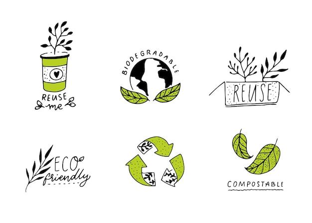 Cartello biodegradabile e compostabile riduci il concetto di riutilizzo e riciclaggio badge se