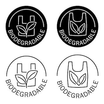 Icona biodegradabile del sacchetto di plastica con foglie verdi timbro senza plastica eco friendly compostabile