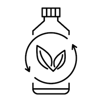 Plastica biodegradabile, segno. icona della bottiglia di plastica con foglie verdi. passa al concetto di pianta. produzione di materiale compostabile ecologico. rifiuti zero, concetto di protezione della natura. vettore