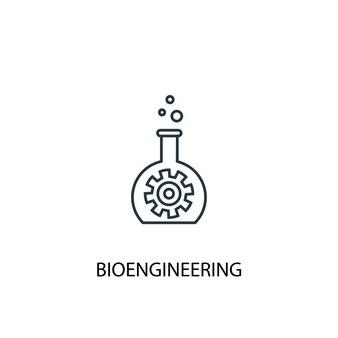 Icona della linea del concetto di bioingegneria. illustrazione semplice dell'elemento. disegno di simbolo di struttura del concetto di bioingegneria. può essere utilizzato per ui/ux mobile e web