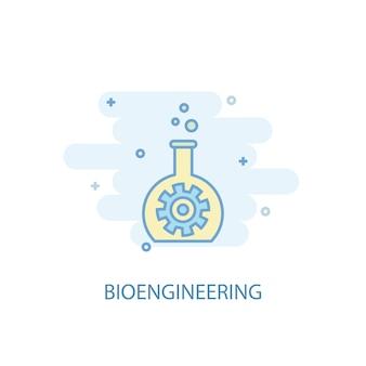 Concetto di linea di bioingegneria. icona della linea semplice, illustrazione colorata. simbolo di bioingegneria design piatto. può essere utilizzato per ui/ux