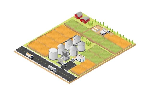 Energia di biocarburanti, raffineria di biocarburanti in vista isometrica