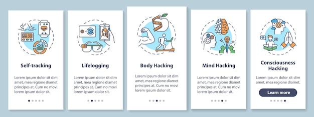 Elementi di biohacking nella schermata della pagina dell'app mobile con concetti. biologia fai-da-te e hacking del corpo: istruzioni grafiche in cinque passaggi. modello di interfaccia utente con illustrazioni a colori rgb