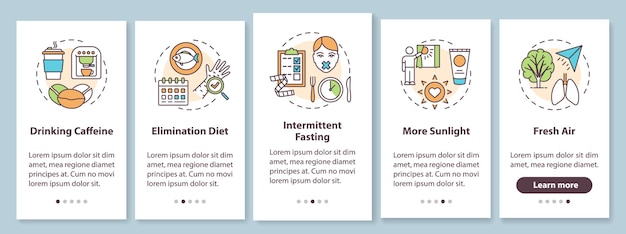 Suggerimenti per il biohacking nella schermata della pagina dell'app mobile con concetti. guida all'avanzamento della salute con istruzioni grafiche in cinque passaggi. modello di interfaccia utente con illustrazioni a colori rgb