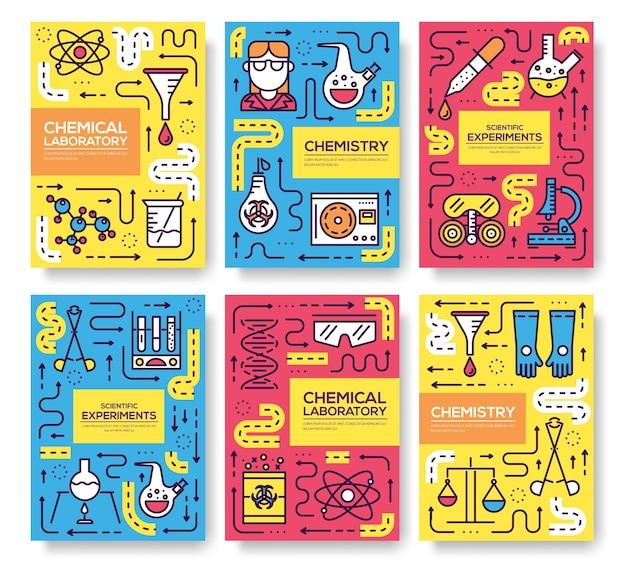 Set di carte linea sottile di biohazard chimici