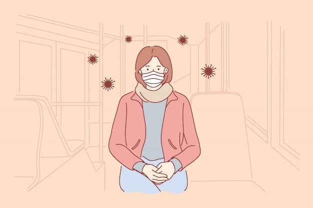 Rischio biologico, pericolo, infezione, coronavirus, concetto di protezione.