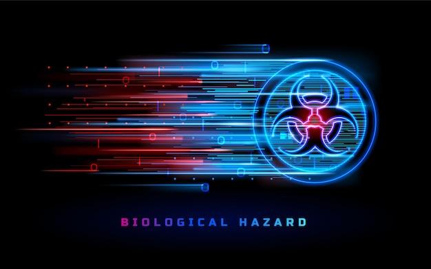 Segnale di luce al neon di rischio biologico avviso di pericolo di pericolo biologico