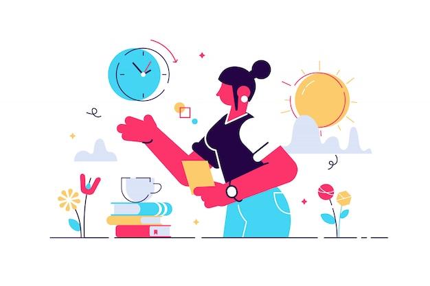 Illustrazione dell'orologio biologico. piccolo invecchiamento concetto di persone senza figli.