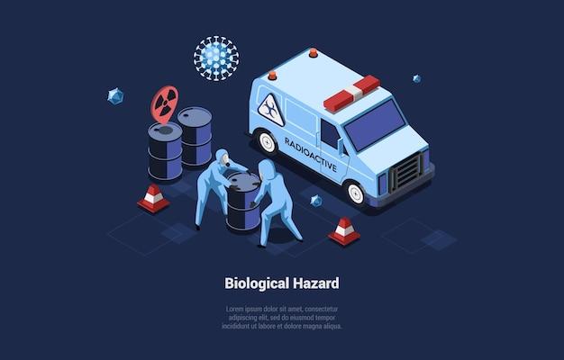 Illustrazione di concetto di rischio biologico in stile cartone animato 3d di due personaggi in tute protettive che trasportano barili radioattivi pericolosi