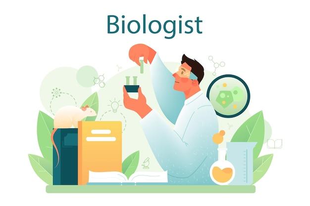 Lo scienziato del concetto di biologo effettua analisi di laboratorio del sistema di vita