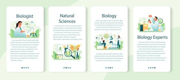 Set di banner per applicazioni mobili per biologo. illustrazione vettoriale piatta