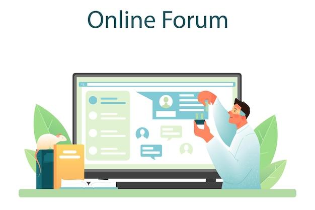 Il servizio online di biologo o lo scienziato della piattaforma effettuano analisi di laboratorio